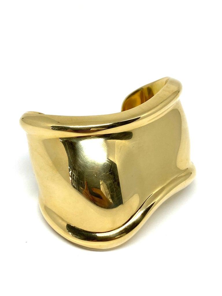 Modern Tiffany & Co. Elsa Peretti Yellow Gold Small Bone Cuff Bangle Bracelet