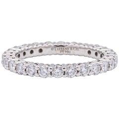 Tiffany & Co. Platinum Embrace Full Eternity Ring  .80 Carat E-F VS 2.2mm Size 4