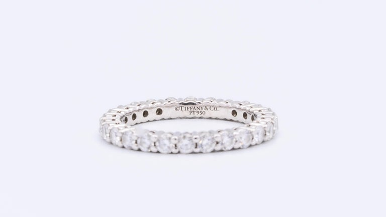 Round Cut Tiffany & Co. Embrace Eternity Ring in Platinum .80 Carat E-F VS For Sale