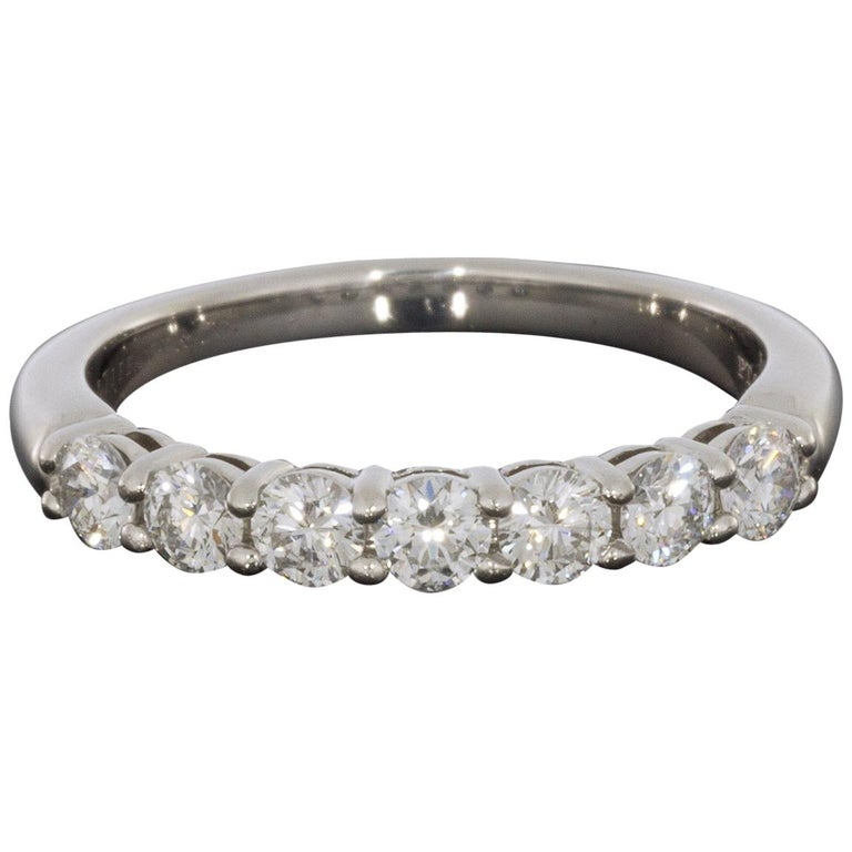 Tiffany & Co. Embrace Platinum 0.57 Carat Round Diamond Wedding Band For Sale