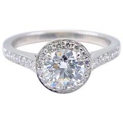 Tiffany & Co. Embrace Round Diamond Halo 1.24 Carat Platinum Engagement Ring GIA
