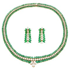Tiffany & Co. Emerald and Diamond Leaf Necklace and Earrings Set