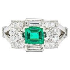 Tiffany & Co. Emerald Baguette Brilliant Diamond Platinum Ring, circa 1950