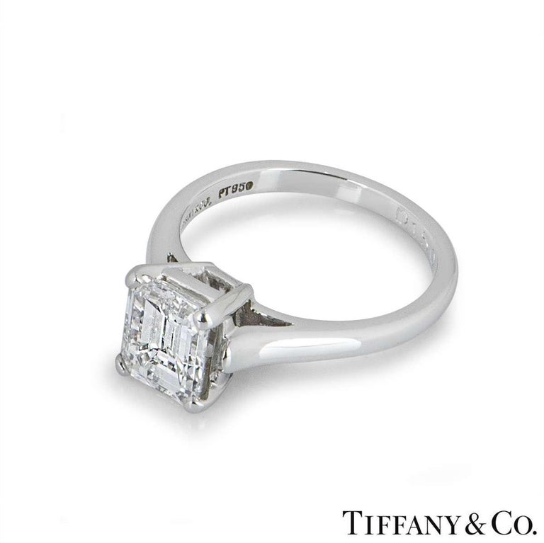 Women's Tiffany & Co. Emerald Cut Diamond Engagement Ring 1.59ct E/VS1 GIA Certified For Sale