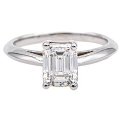 Tiffany & Co. Emerald Cut Diamond Solitaire Engagement Ring 1.38ct FVVS2 in Plat