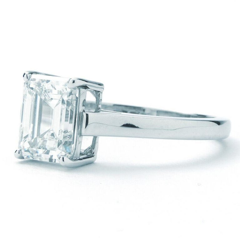 Modern Tiffany & Co. Emerald Cut Diamond Solitaire Engagement Ring For Sale