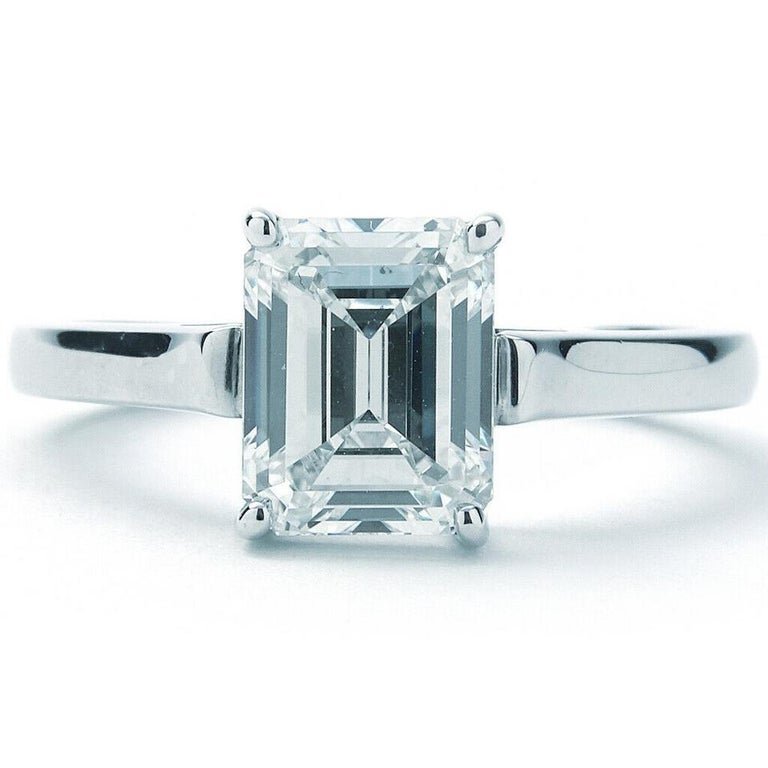 Tiffany & Co. Emerald Cut Diamond Solitaire Engagement Ring In Excellent Condition For Sale In New York, NY