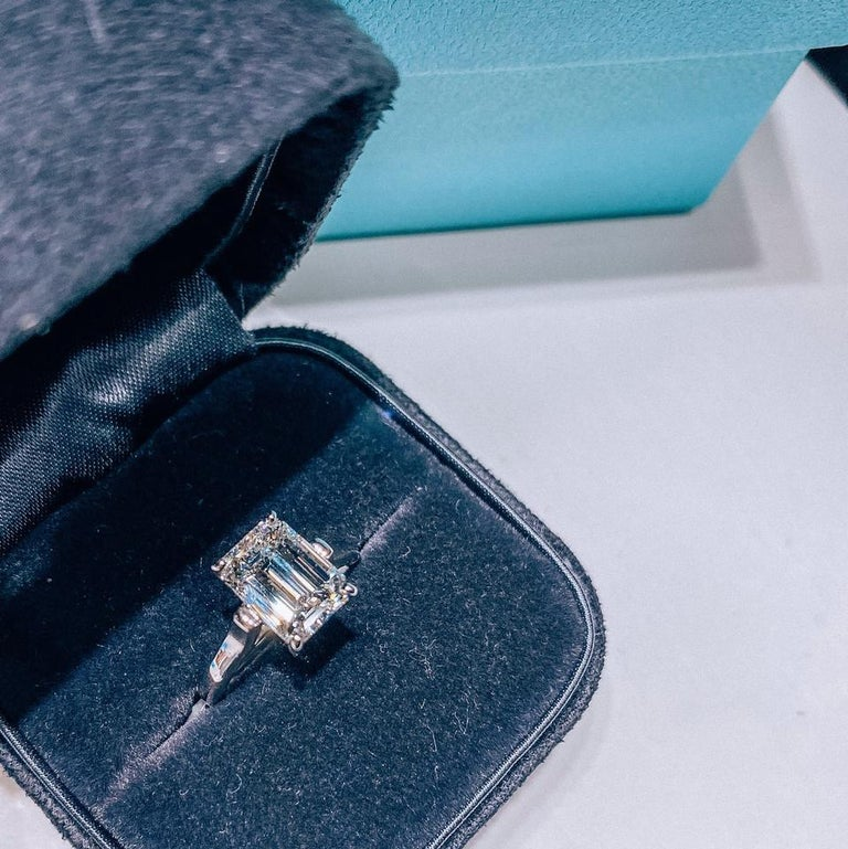 Women's Tiffany & Co. Emerald Cut Diamond Solitaire Engagement Ring For Sale