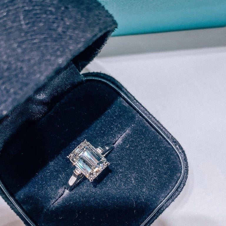 Tiffany & Co. Emerald Cut Diamond Solitaire Engagement Ring For Sale 1