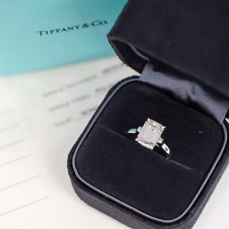 Tiffany & Co. Emerald Cut Diamond Solitaire Engagement Ring For Sale 3