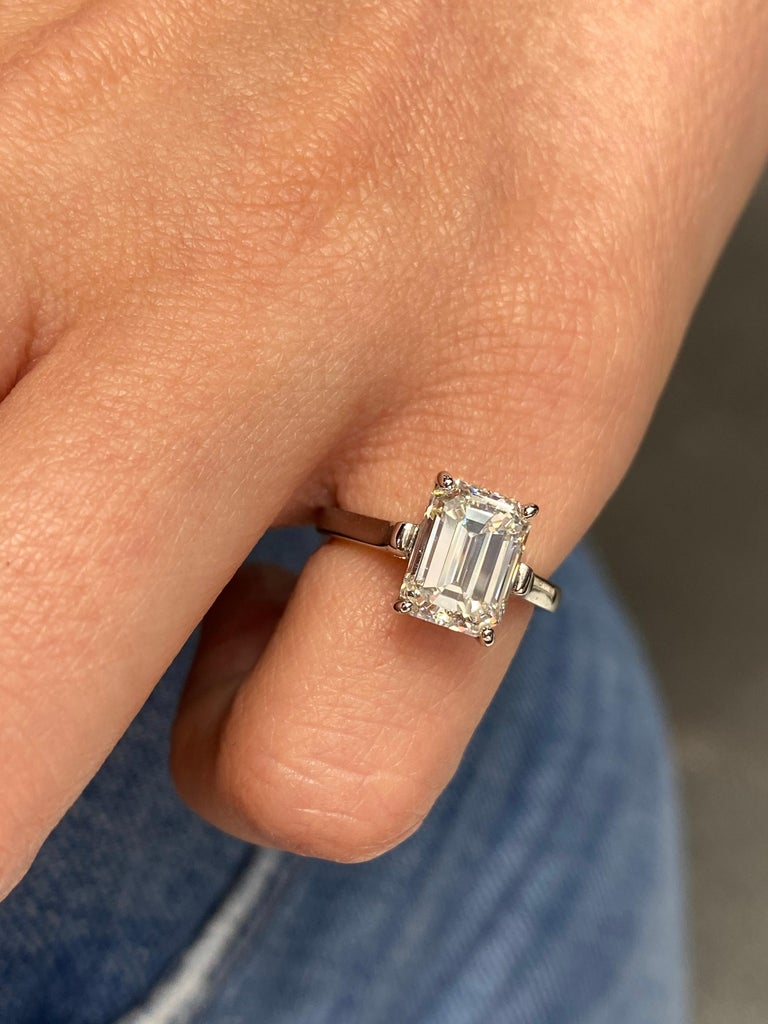 Tiffany & Co. Emerald Cut Diamond Solitaire Engagement Ring For Sale 4
