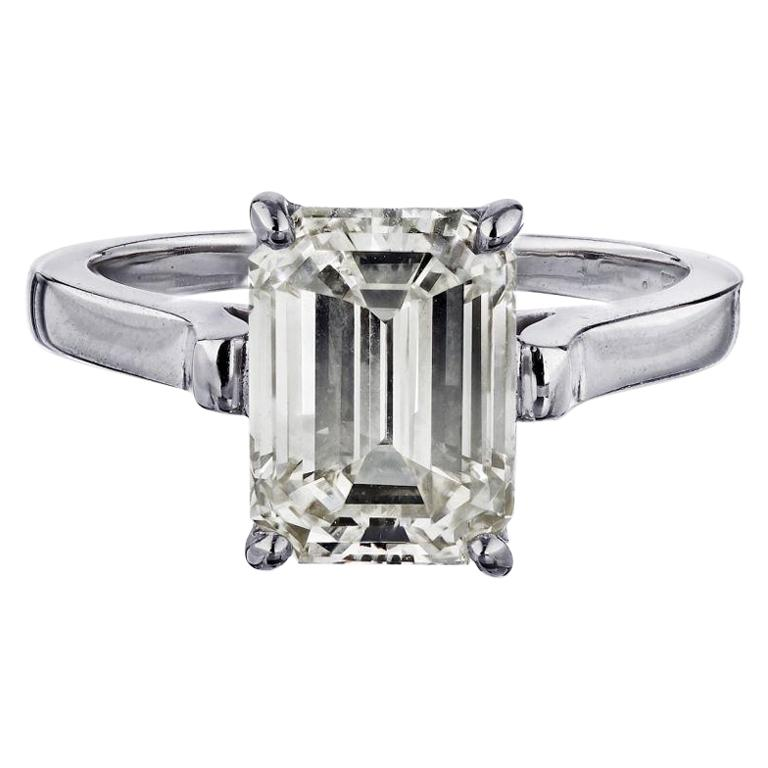 Tiffany & Co. Emerald Cut Diamond Solitaire Engagement Ring For Sale
