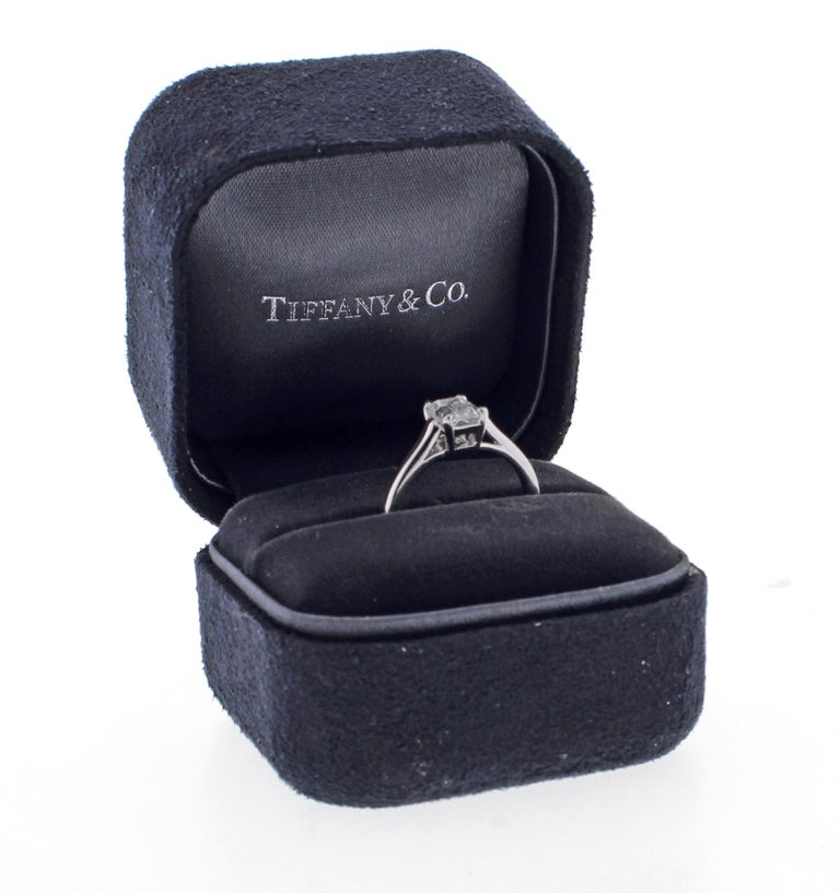 Tiffany & Co. Emerald Cut Diamond Solitaire Engagement Ring In Excellent Condition For Sale In Bethesda, MD