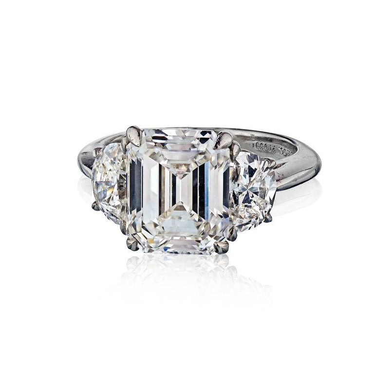 Tiffany & Co. Emerald Cut Three-Stone Diamond Engagement Ring In Excellent Condition For Sale In New York, NY