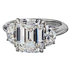 Tiffany & Co. Emerald Cut Three-Stone Diamond Engagement Ring