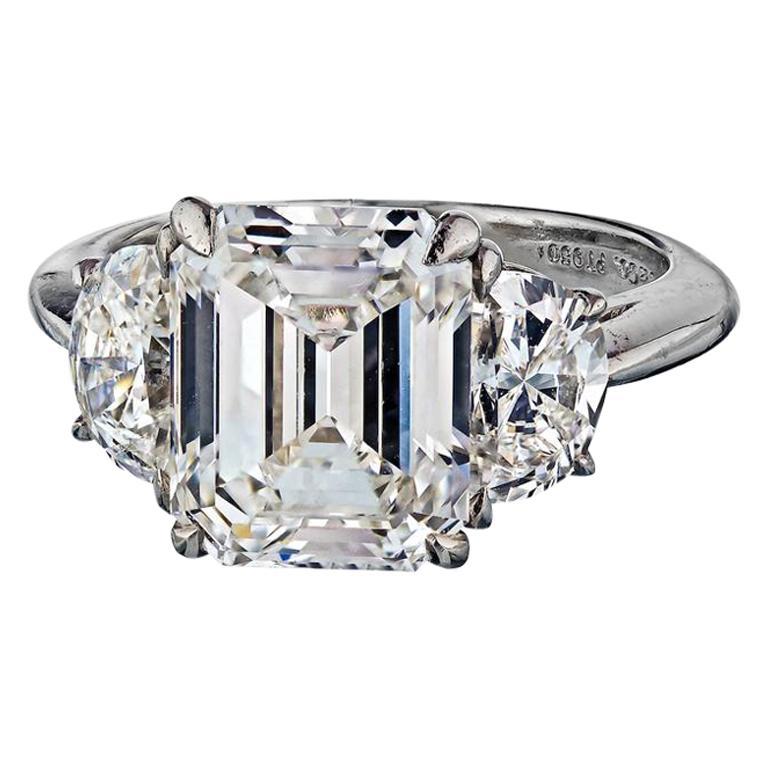 Tiffany & Co. Emerald Cut Three-Stone Diamond Engagement Ring For Sale