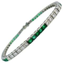 Tiffany & Co. Emerald Diamond 9 Carat Platinum Bracelet
