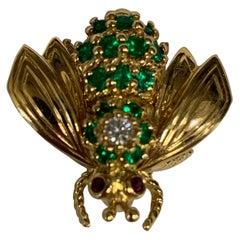 Tiffany & Co. Emerald, Diamond and Ruby Bee Pin