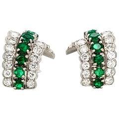 Tiffany & Co. Emerald Diamond Ear Clips in Platinum