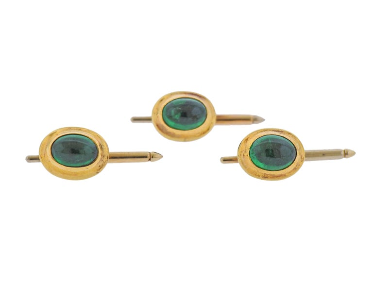 Cabochon Tiffany & Co. Emerald Gold Cufflinks Stud Button Dress Set For Sale