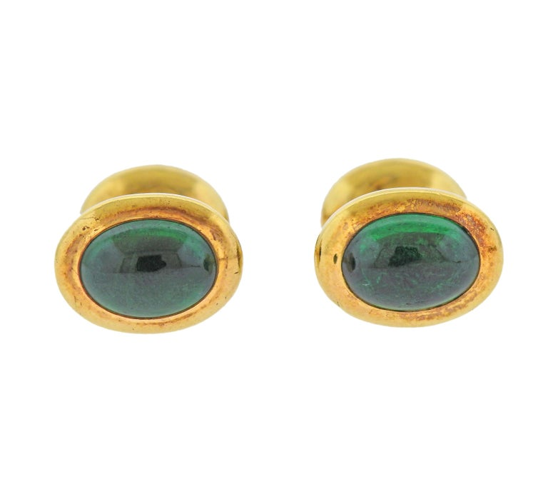 Tiffany & Co. Emerald Gold Cufflinks Stud Button Dress Set In Excellent Condition For Sale In New York, NY