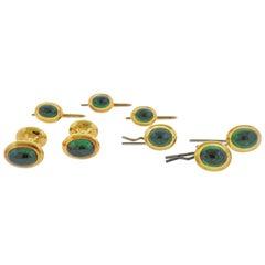 Tiffany & Co. Emerald Gold Cufflinks Stud Button Dress Set