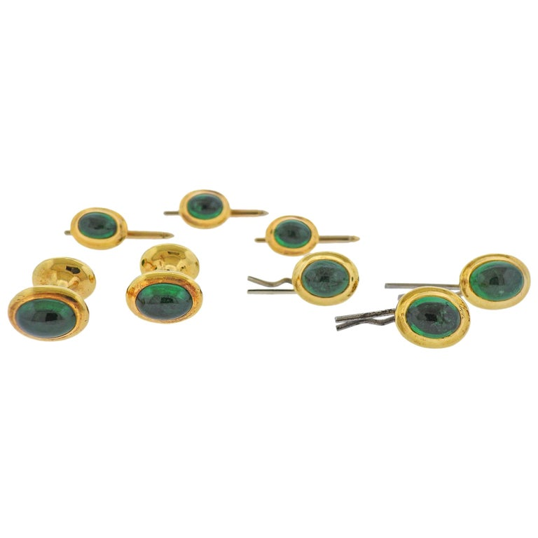 Tiffany & Co. Emerald Gold Cufflinks Stud Button Dress Set For Sale