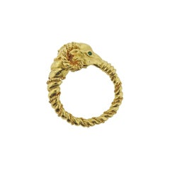Tiffany & Co Emerald Gold Ram's Head Ring