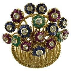 Tiffany & Co. En Tremblant Gemset Gold Flower Basket