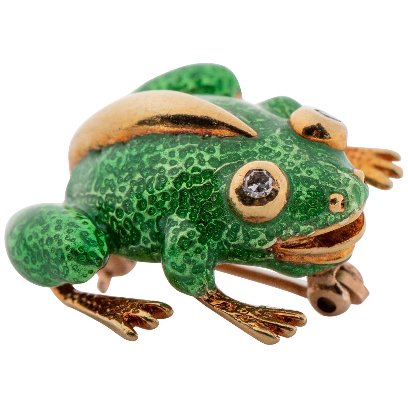 Tiffany & Co. Enamel and Diamond Frog Brooch, 18 Karat Gold