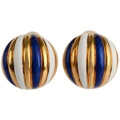 Tiffany & Co. Enamel Melon Shaped Earrings