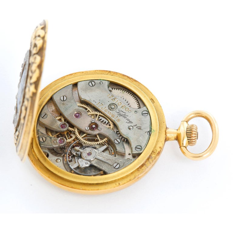 Tiffany & Co. Enameled 14 Karat Yellow Gold Pocket Watch In Excellent Condition For Sale In Dallas, TX