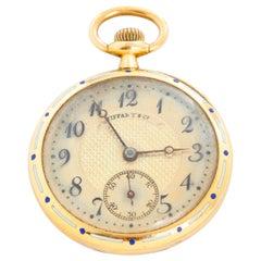 Tiffany & Co. Enameled 14 Karat Yellow Gold Pocket Watch
