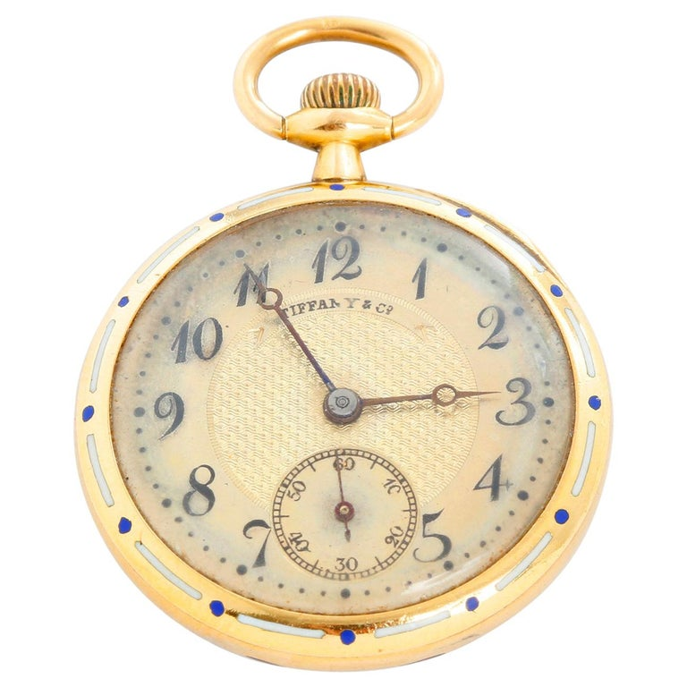 Tiffany & Co. Enameled 14 Karat Yellow Gold Pocket Watch For Sale