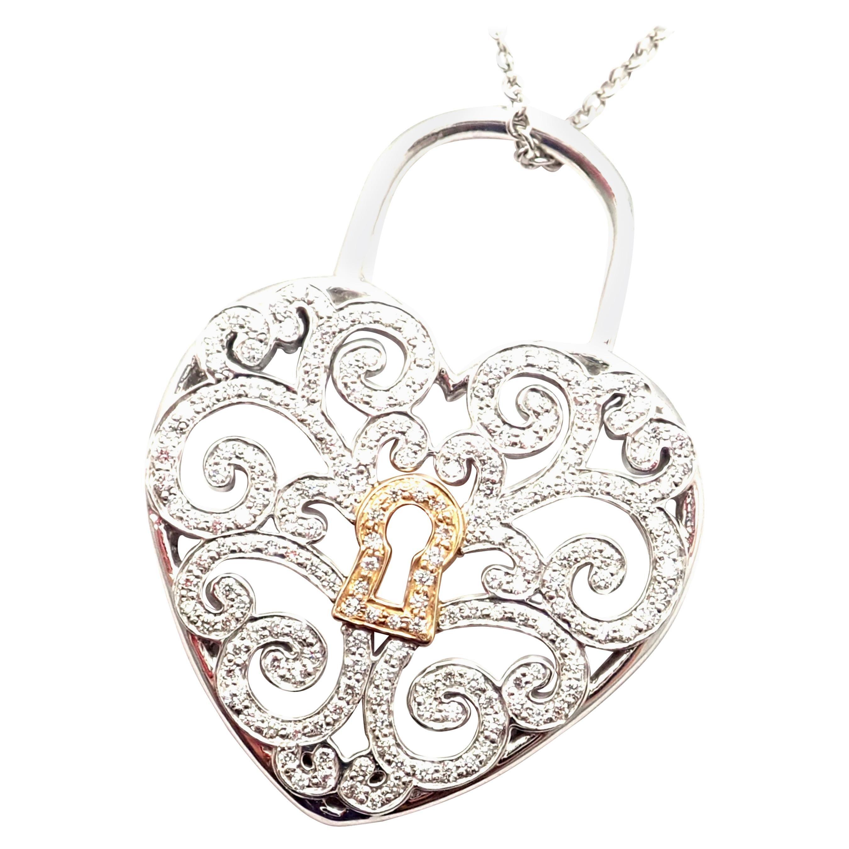 Tiffany & Co. Enchant Diamond Heart Lock Platinum Yellow Gold Pendant Necklace