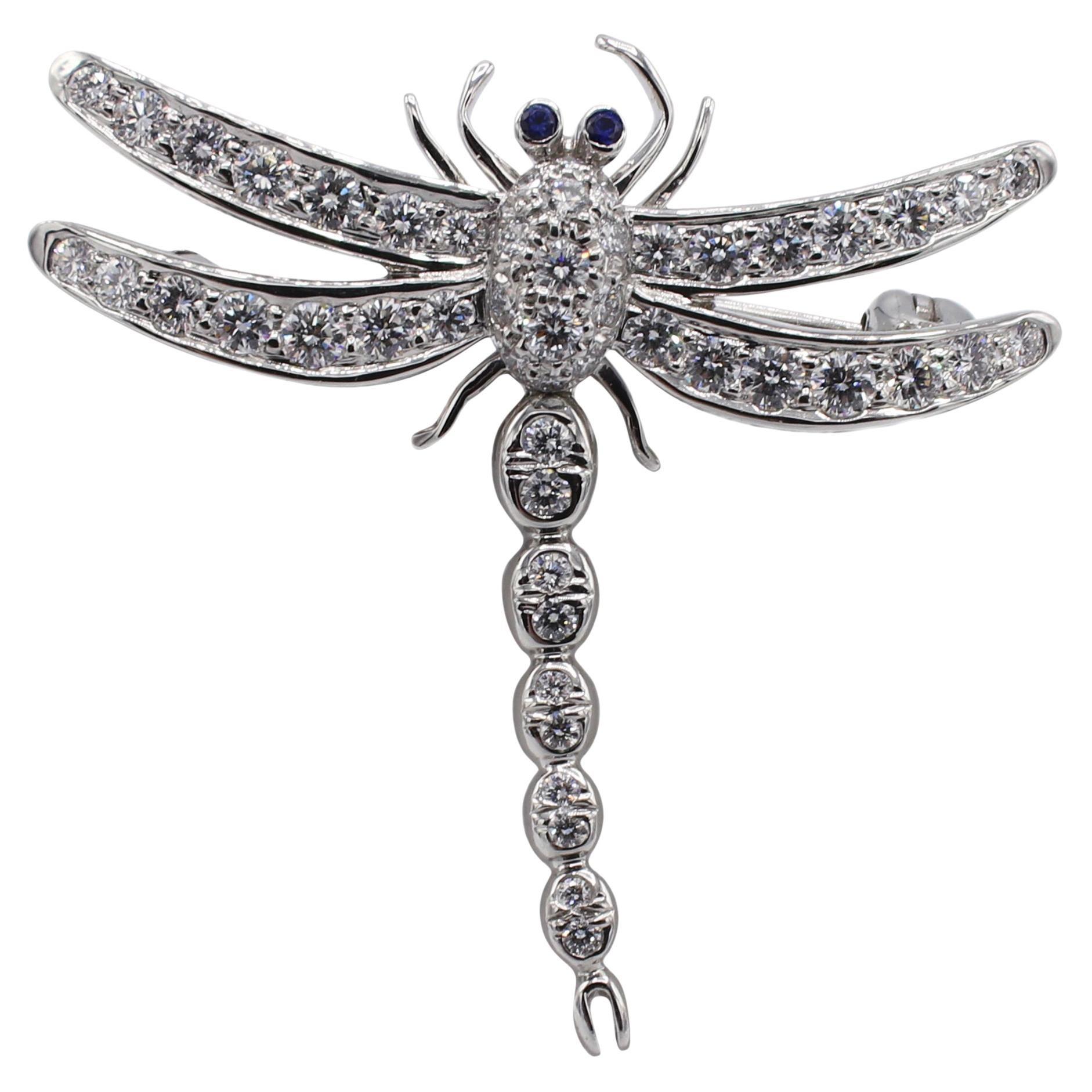 Tiffany & Co. Enchant Platinum Diamond & Sapphire Dragonfly Pin Brooch