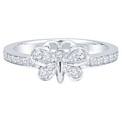 Tiffany & Co. Enchant Round Diamond Butterfly Ring in Platinum 0.21 Carat