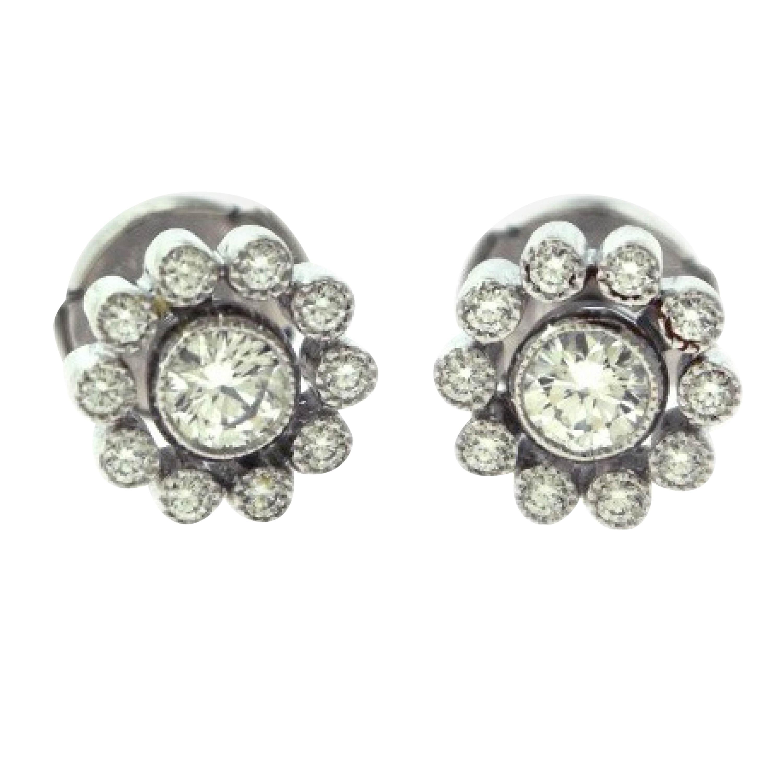 Tiffany & Co. Enchant Vintage Style Platinum Round Diamond Halo Stud Earrings