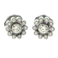 Tiffany & Co. Enchant Vintage Style Platinum Round Diamond Halo Stud Earrings