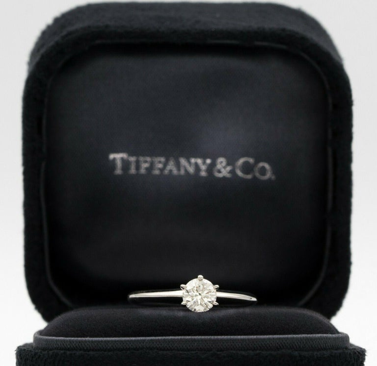 Contemporary Tiffany & Co. Engagement Ring with .46 Carat Round Center For Sale
