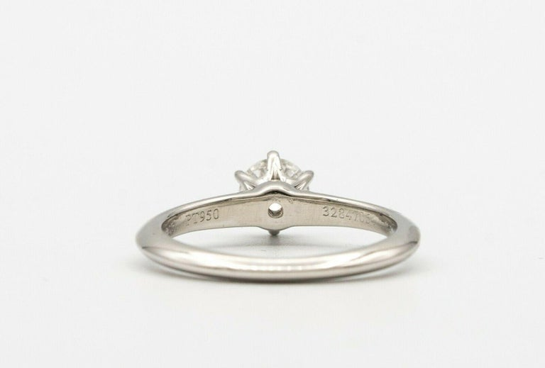 Women's or Men's Tiffany & Co. Engagement Ring with .46 Carat Round Center For Sale