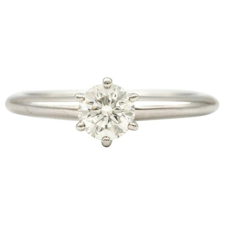Tiffany & Co. Engagement Ring with .46 Carat Round Center For Sale