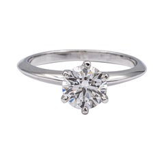 Tiffany & Co. Platinum Solitaire Diamond Engagement Ring Round 1.26 Ct GVVS1