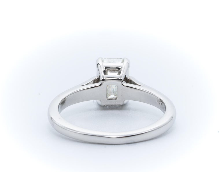 Women's or Men's Tiffany & Co. Engagement Ring with 1.07 Carat Emerald Cut Centre in Platinum For Sale