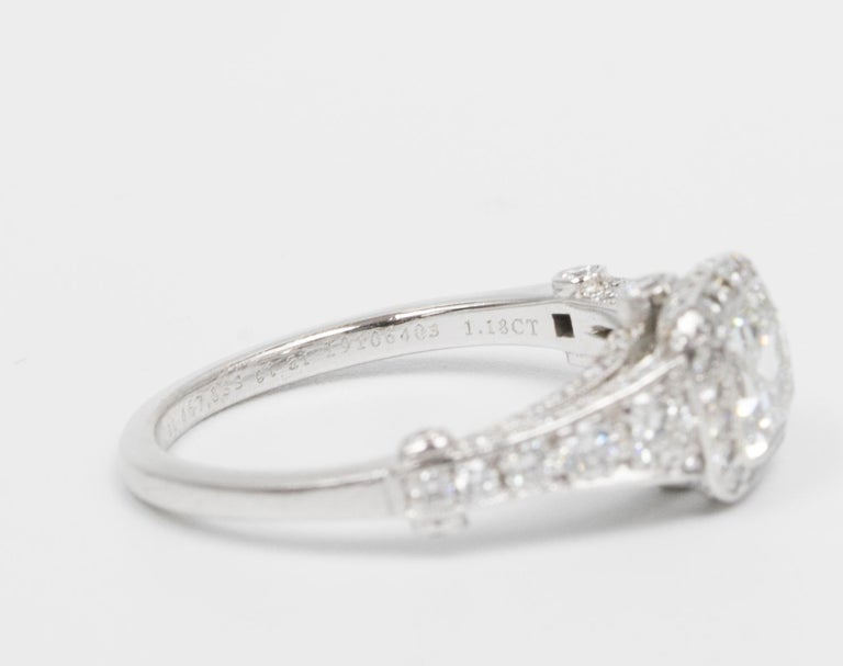 Women's or Men's Tiffany Legacy® Engagement Ring with a 1.18 Carat Cushion-cut D VVS1 GIA For Sale