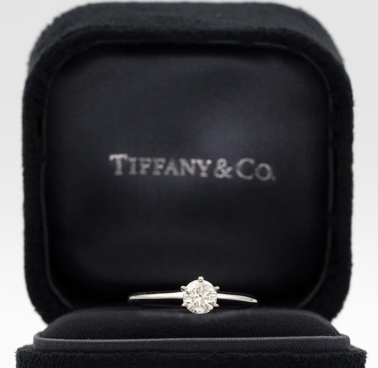 Contemporary Tiffany & Co. Engagement Ring with 1.28 Carat Centre in Platinum ($18,200) For Sale