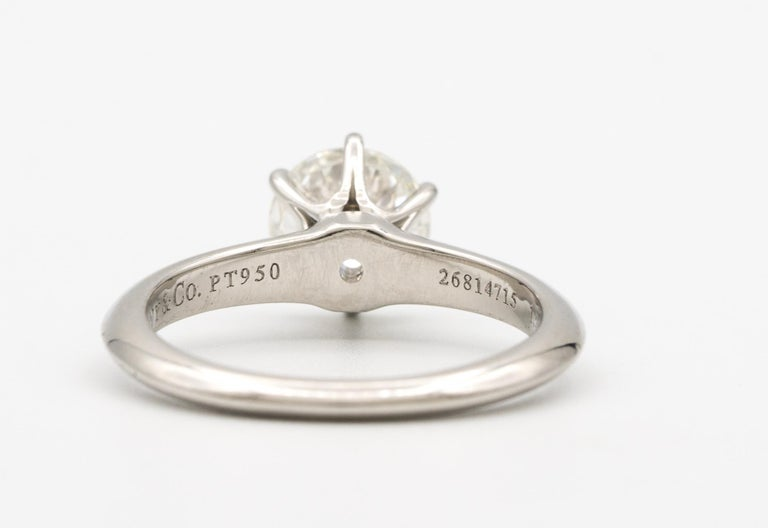 Tiffany & Co. Engagement Ring with 1.28 Carat Centre in Platinum ($18,200) For Sale 1
