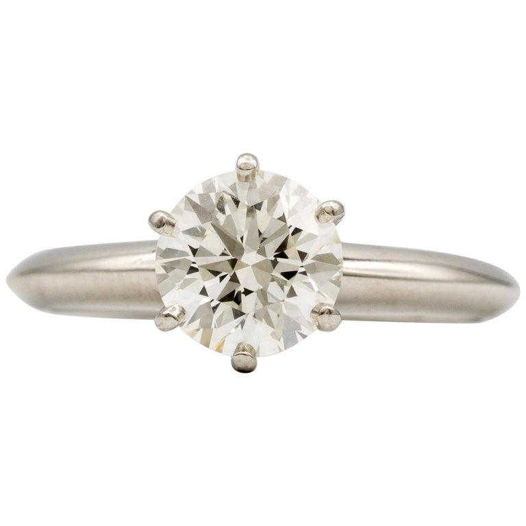 Tiffany & Co. Engagement Ring with 1.28 Carat Centre in Platinum ($18,200) For Sale