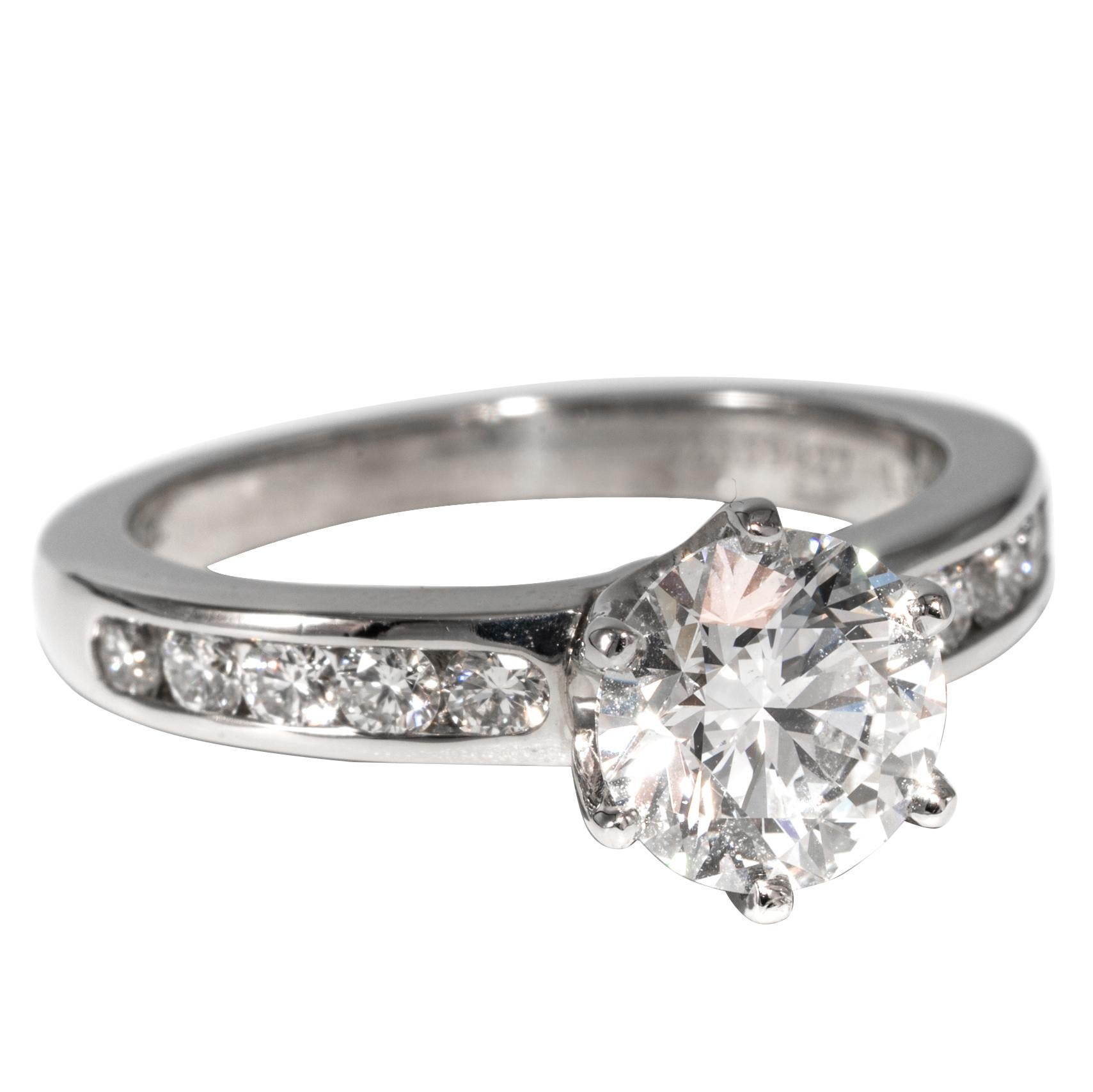 Tiffany Wedding Rings.Tiffany Co Engagement Ring With 1 43 Carat Round Brilliant Centre In Platinum