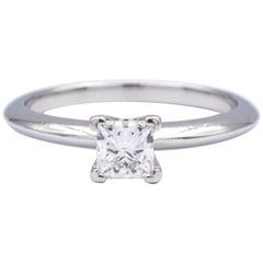 Tiffany & Co. Engagement Ring with .51 Carat H VVS1 Princess Cut in Platinum